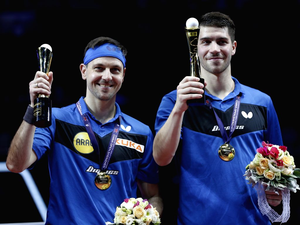 SHENZHEN, June 1, 2019 - Gold medalists Timo Boll (L)/Patrick Franziska of Germany pose for photos during the awarding ceremony after the men's doubles final match against Ma Long/Wang Chuqin of ...