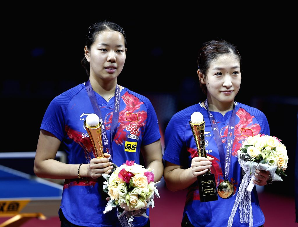 SHENZHEN, June 1, 2019 - Liu Shiwen (R)/Gu Yuting of China pose for photos during the awarding ceremony after the women's doubles final match against their compatriots Wang Manyu/Zhu Yuling at ITTF ...