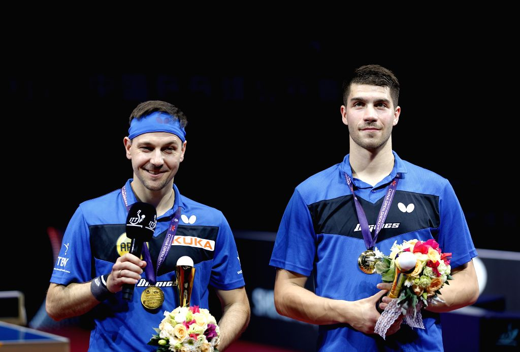 SHENZHEN, June 1, 2019 - Timo Boll (L)/Patrick Franziska of Germany receive interviews during the awarding ceremony after the men's doubles final match against Ma Long/Wang Chuqin of China at ITTF ...