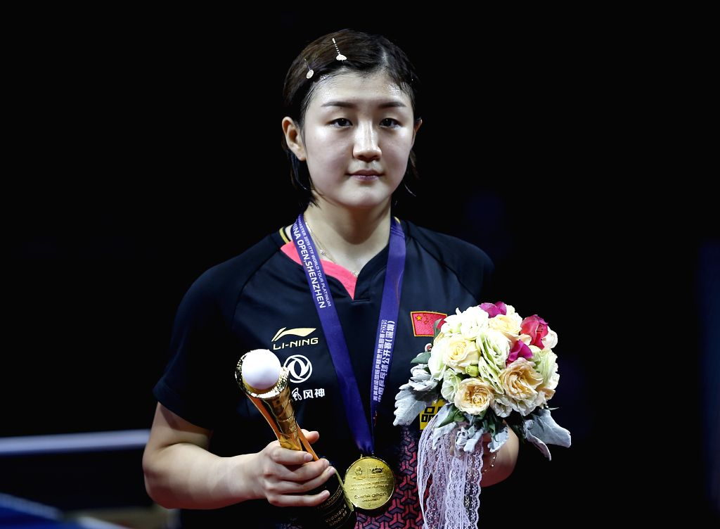 SHENZHEN, June 2, 2019 - Chen Meng poses for photos during the awarding ceremony after the women's singles final match at ITTF World Tour Platinum China Open in Shenzhen, south China's Guangdong ...
