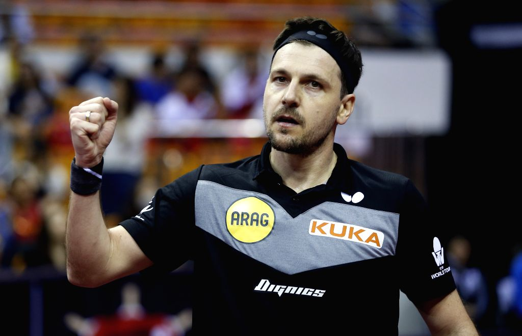 SHENZHEN, May 31, 2019 - Germany's Timo Boll celebrates after winning the men's singles round of 16 match against China's Yu Ziyang at ITTF World Tour Platinum China Open in Shenzhen, south China's ...