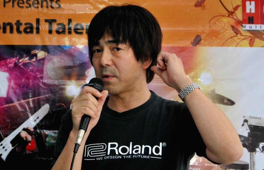 Shigeru Kimoto, Marketing Manager Roland Corporation , Japan addresses during launch of India`s first Roland School of Music Japan in Kolkata on March 21, 2013.