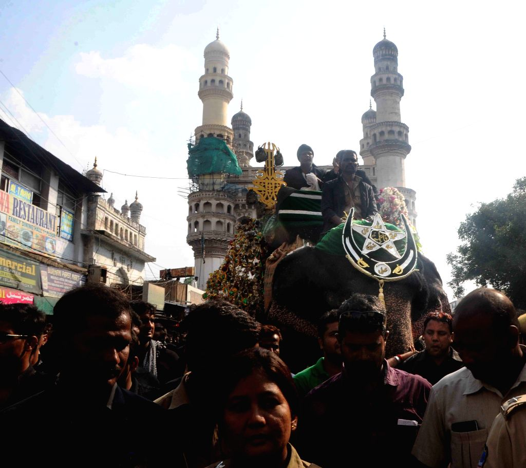 Shiite Muslims during a Muharram procession to mark the Day of Ashura in Hyderabad, on Oct 24, 2015.