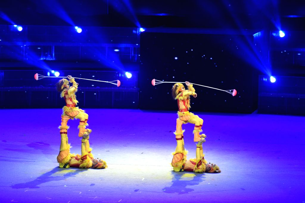 SHIJIAZHUANG, Oct. 26, 2019 - Acrobats perform during the opening performance of the 17th China Wuqiao International Circus Festival at Hebei provincial arts center in Shijiazhuang, capital of north ...