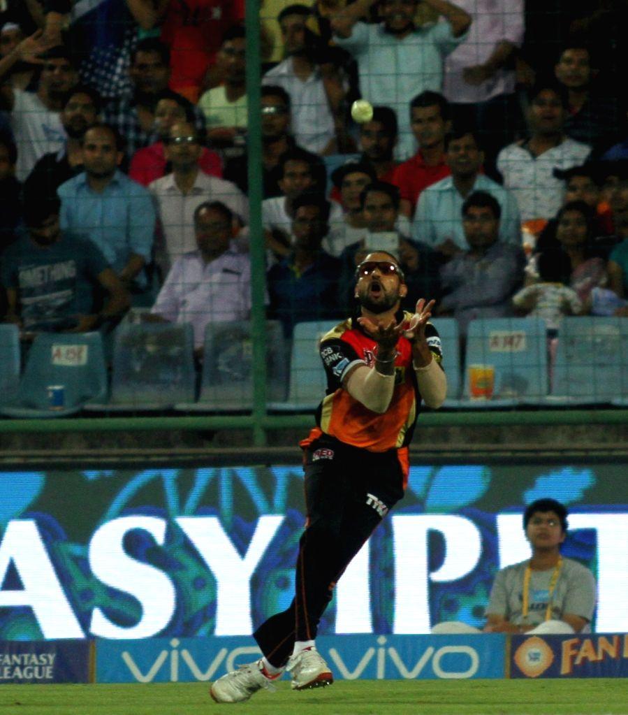 Shikhar Dhawan in action during the  IPL 2016 Eliminator match between Sunrisers Hyderabad and Kolkata Knight Riders at Feroz Shah Kotla stadium in New Delhi, on May 25, 2016. - Shikhar Dhawan and Feroz Shah Kotla