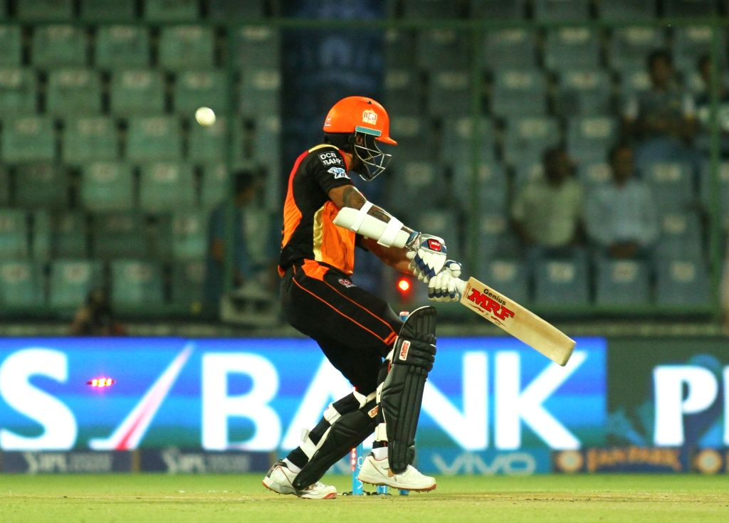 Shikhar Dhawan of Sunrisers Hyderabad gets dismissed during the  IPL 2016 Eliminator match between Sunrisers Hyderabad and Kolkata Knight Riders at Feroz Shah Kotla stadium in New Delhi, ... - Shikhar Dhawan and Feroz Shah Kotla