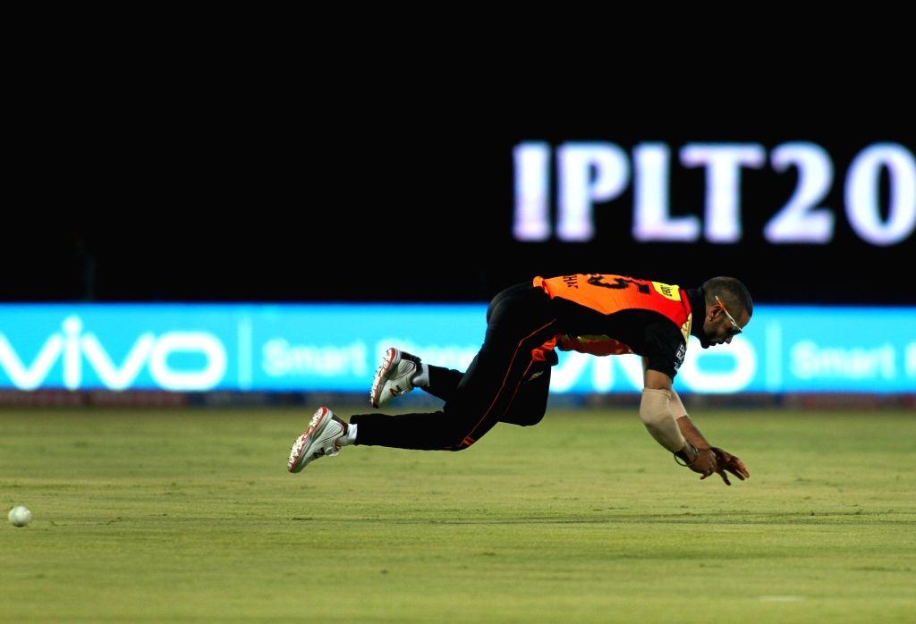 Shikhar Dhawan of Sunrisers Hyderabad in action during an IPL match between Gujarat Lions and Sunrisers Hyderabad at Saurashtra Cricket Association Stadium in Rajkot on April 21, 2016. - Shikhar Dhawan