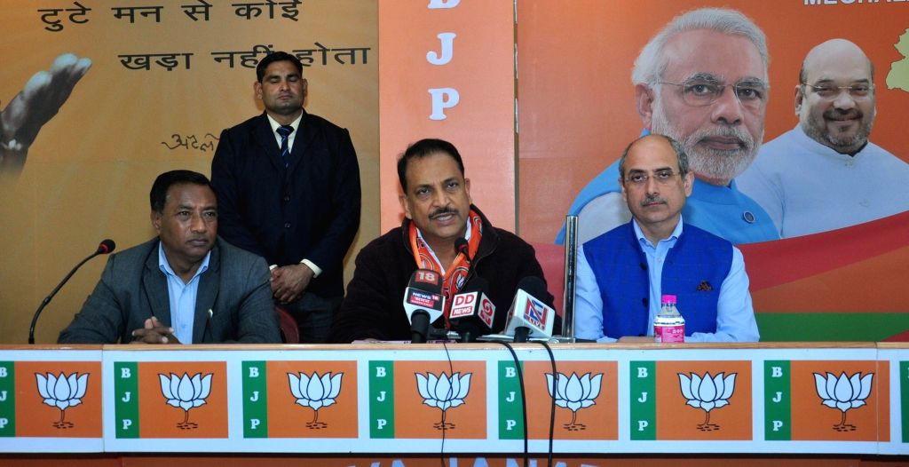 :Shillong: BJP leader Rajiv Pratap Rudy along with the party's Meghalaya in charge and National Spokesperson Nalin Kohli and the party's candidate from Pynthorumkhrah AL Hek, addresses a ...