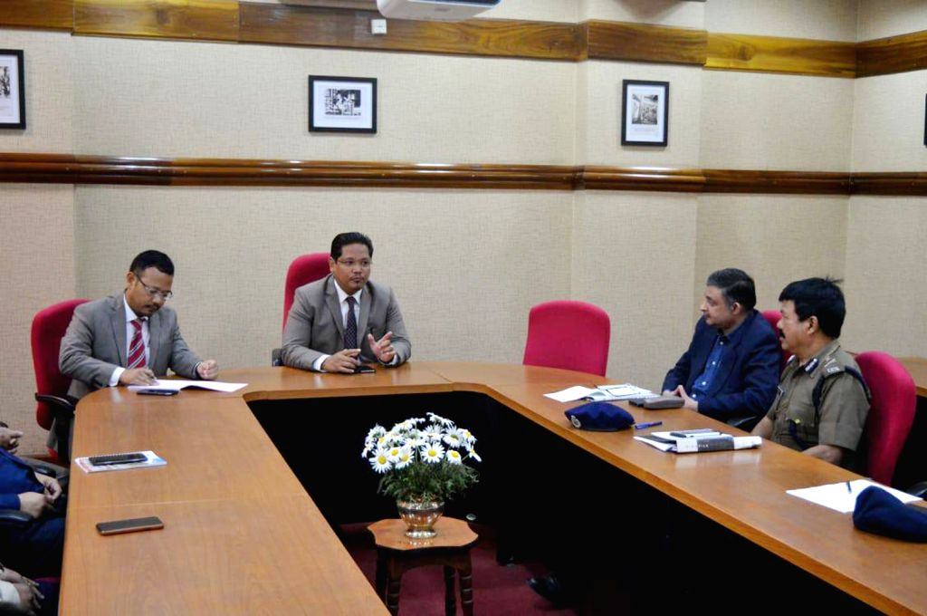 Shillong: Meghalaya Chief Minister Conrad K Sangma during an emergency meeting with his cabinet of ministers regarding law and order situation in Shillong, on June 1, 2018. (Photo: IANS) - Conrad K Sangma