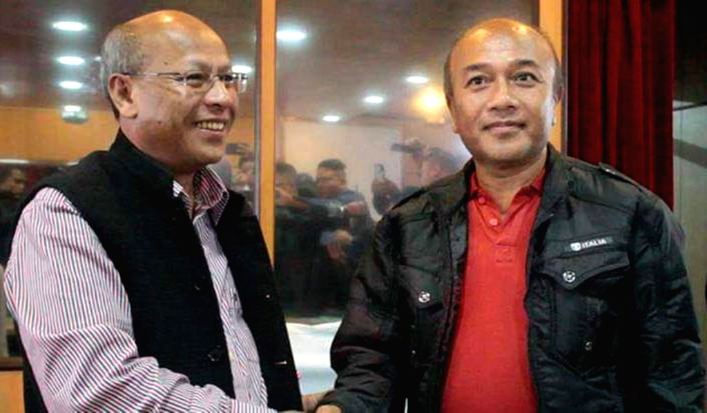 :Shillong: Meghalaya's most wanted separatist leader and Hynniewtrep National Liberation Council (HNLC) General Secretary Cheristerfield Thangkhiew surrenders before Deputy Chief Minister ...