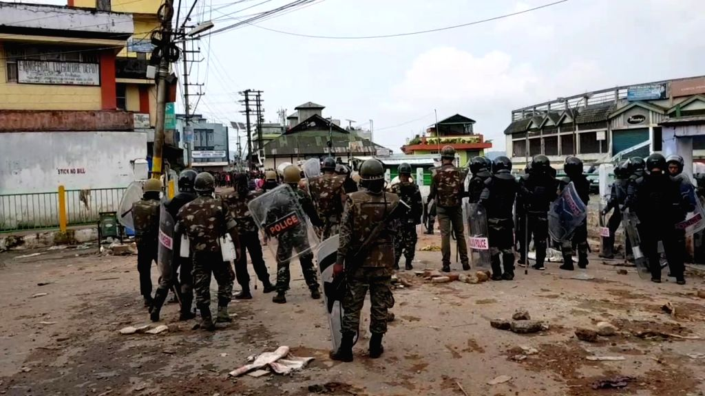 :Shillong: Security beefed up in violence-hit areas of Shillong where curfew was relaxed for seven hours on June 3, 2018. An indefinite curfew was imposed in areas under Lumdiengjri Police Station ...