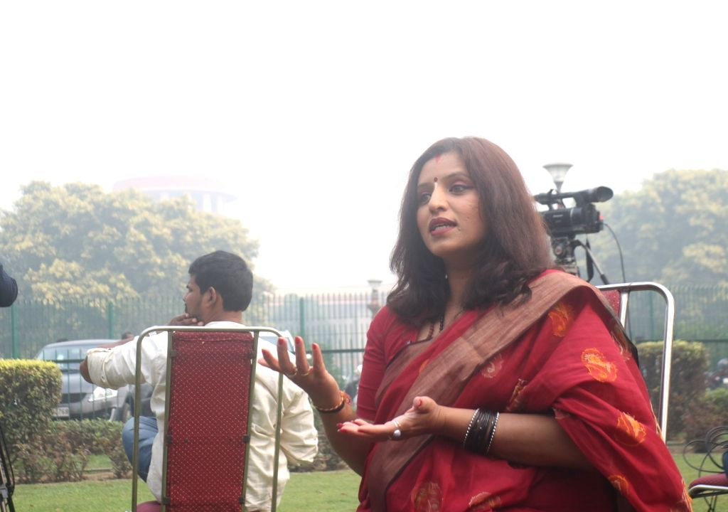 Shilpa Nair, one of the petitioners in the issue of entry of women into Sabarimala temple, talks to the media persons after the Supreme Court's verdict in the case, in New Delhi on Nov 14, ...