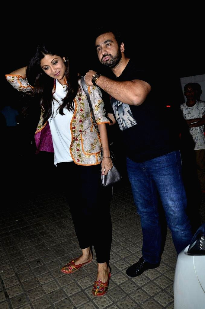 Shilpa Shetty and her husband Raj Kundra during the special screening of film Finding Fanny in Mumbai on Sept 7, 2014. - Shilpa Shetty and Raj Kundra
