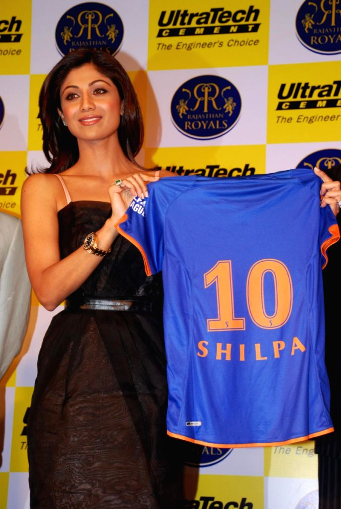 Shilpa Shetty at Rajasthan Royals tie up with Ultratech Cement press meet