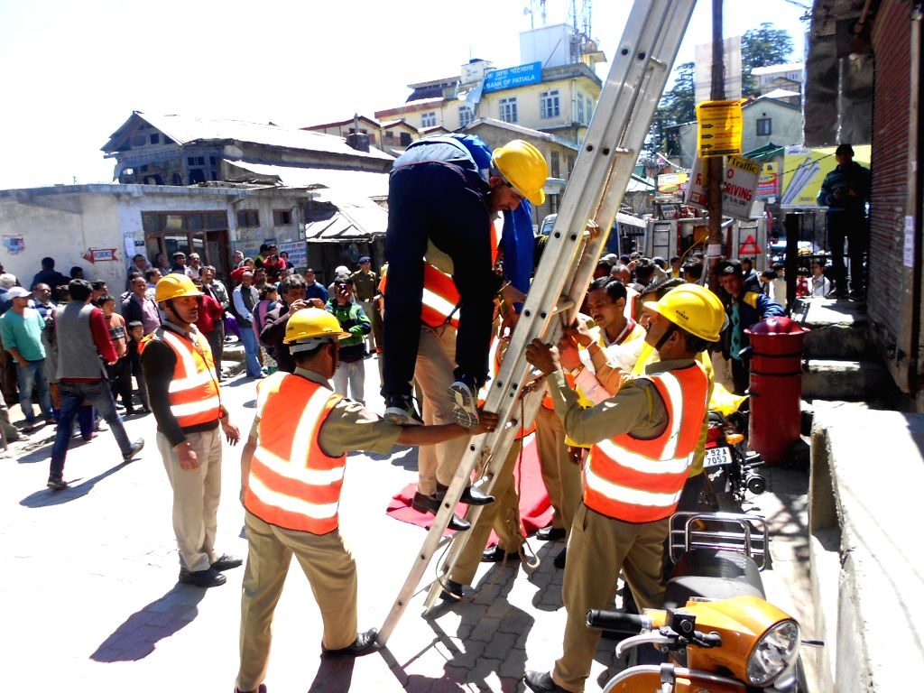 A disaster management mock-drill underway in Shimla on April 9, 2015.