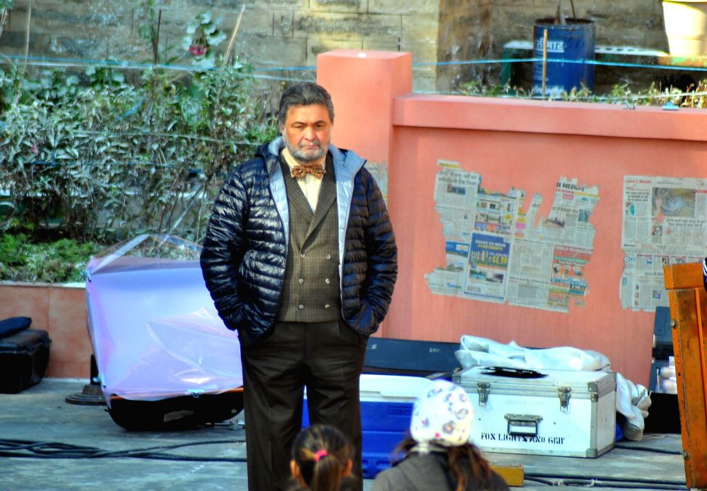 Actor Rishi Kapoor during a shooting of his upcoming film `Sanam Re` in Shimla on Dec 27, 2014.