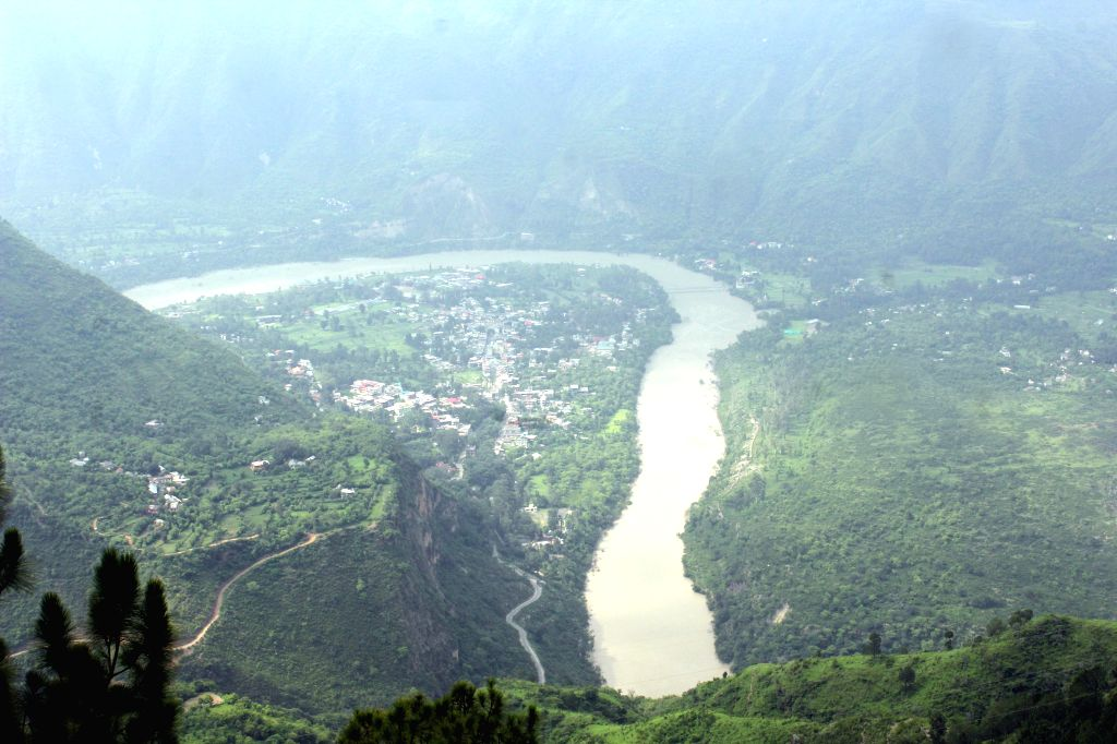 Shimla: An aerial view of Sutlej river. National Thermal Power Corporation (NTPC) is set to commission the 800-MW Kol Dam, its first hydropower project, on the Sutlej river. The project would add another 366.48 million units of electricity every year