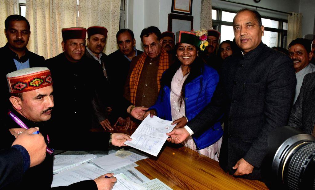 Shimla: BJP woman leader Indu Goswami filed her nomination for Rajya Sabha in the presence of Himachal Chief Minister Jai Ram Thakur,  State BJP President Dr. Rajiv Bindal, Parliamentary Affairs Minister Suresh Bharadwaj and other Cabinet Ministers a - Jai Ram Thakur and Indu Goswami