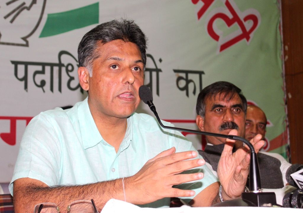 Shimla: Congress leader Manish Tewari addresses a press conference in Shimla on May 26, 2017. (Photo: IANS)