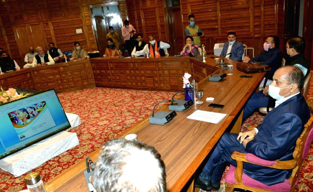 Shimla : Himachal Pradesh Chief Minister and BJP leader Jai Ram Thakur presides over the BJP legislative party meeting at Petehoff in Shimla on July 30, 2020.