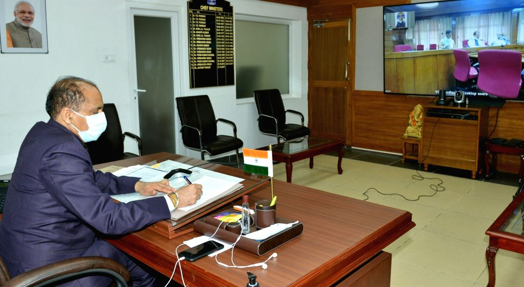 Shimla: Himachal Pradesh Chief Minister Jai Ram Thakur presides over the first meeting of Himachal Pradesh Sanskrit Academy through video conferencing, from Shimla on July 27, 2020. (Photo: IANS) - Jai Ram Thakur
