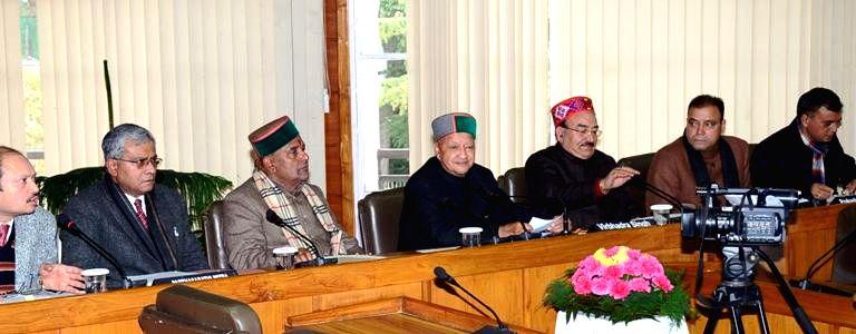 Himachal Pradesh Chief Minister Virbhadra Singh during a meeting with state legislators  in Shimla, on Jan 23, 2015.