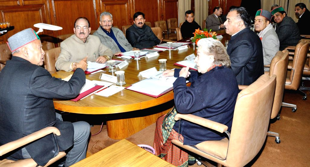 Himachal Pradesh Chief Minister Virbhadra Singh presides over a cabinet meeting in Shimla on March 11, 2015. - Virbhadra Singh