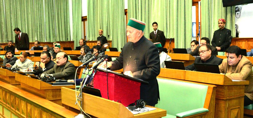 Himachal Pradesh Chief Minister Virbhadra Singh addresses at Himachal Assembly in Shimla, on March 18, 2015. - Virbhadra Singh