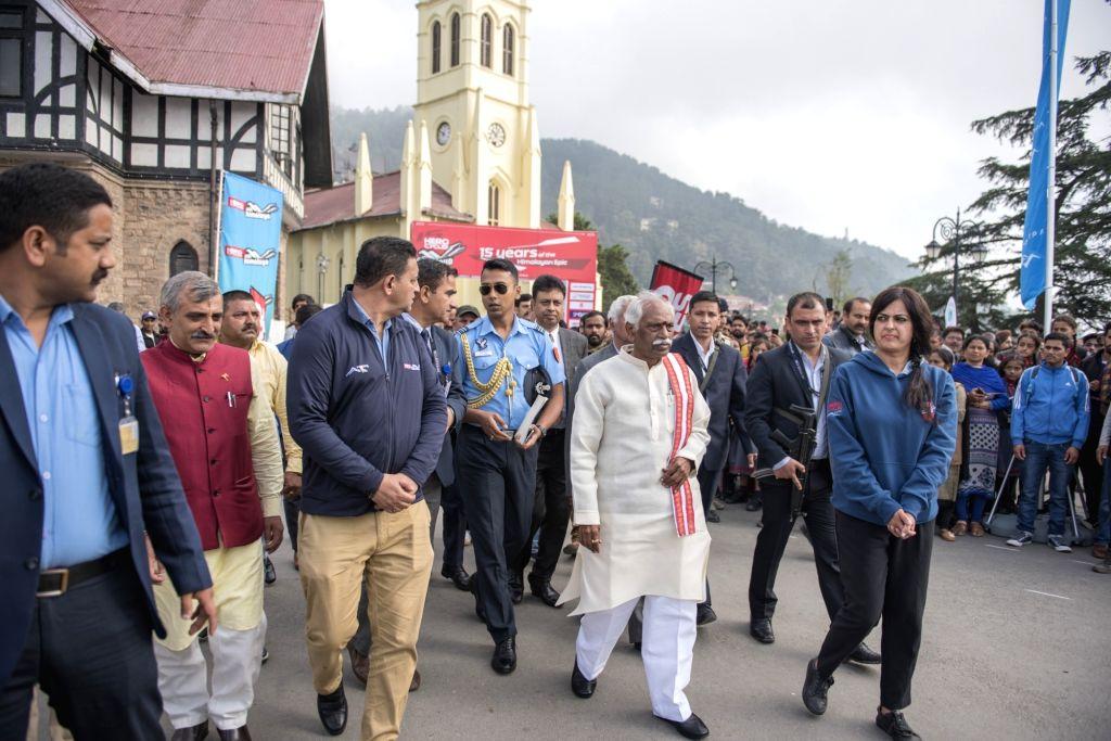 Shimla: Himachal Pradesh Governor Bandaru Dattatreya at the flagging off ceremony of Hero MTB Himalaya, in Shimla on Sep 26, 2019. (Photo: IANS)