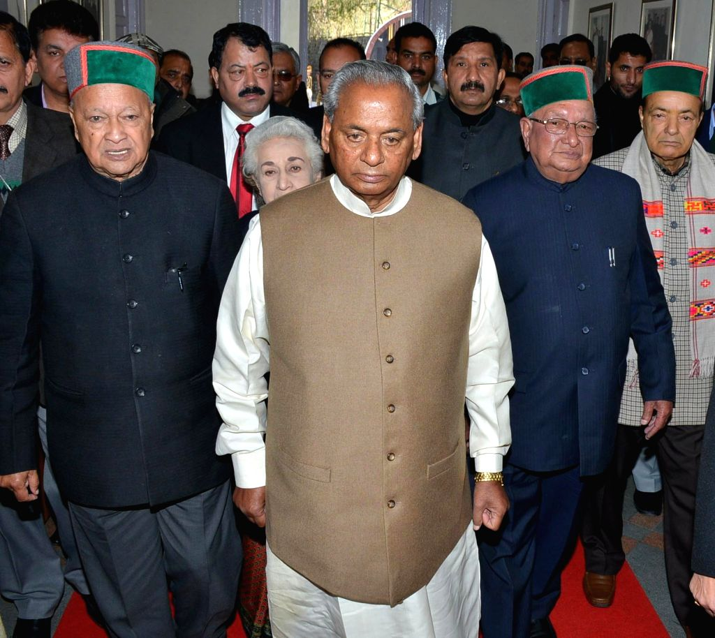 Himachal Pradesh governor Kalyan Singh arrives to address the Himachal assembly  in Shimla, on March 11, 2015. Also seen Chief Minister Virbhadra Singh. - Virbhadra Singh and Kalyan Singh