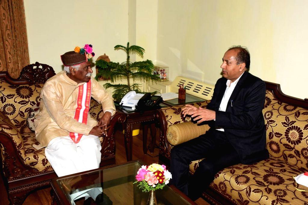 Shimla, June 4 (IANS) Himachal Pradesh Governor Bandaru Dattatraya, here on Thursday, congratulated Chief Minister Jai Ram Thakur for being ranked as the 'best performing Chief Minister' in the IANS-C Voter Survey, conducted by independent news agenc - Jai Ram Thakur
