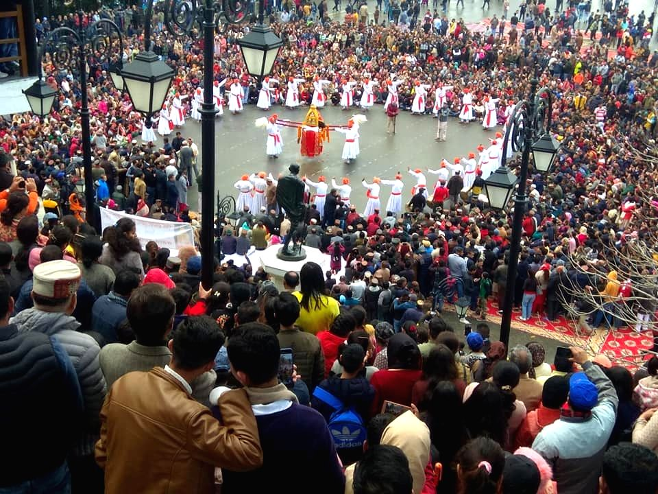 Shimla: People dance during the visit of highly revered Domeshwar devta in Shimla on March 3, 2020. A rare glimpse of deity culture is being witnessed these days mostly in interiors of Himachal Pradesh as highly revered Domeshwar devta is on his sojo