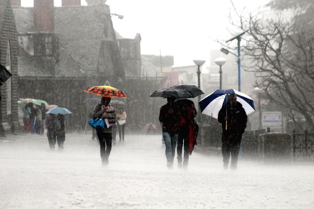 People walk with umbrellas during heavy rains in Shimla, on April 4, 2015.