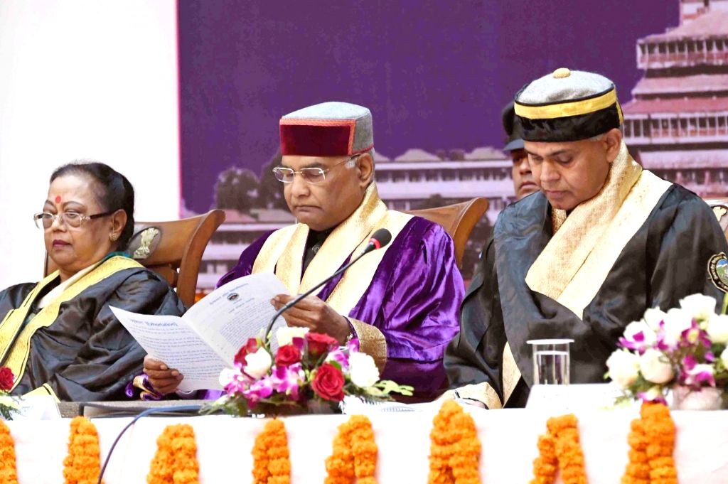 :Shimla: President Ram Nath Kovind during 24th Convocation of Himachal Pradesh University in Shimla on Oct 30, 2018. (Photo: IANS/RB).