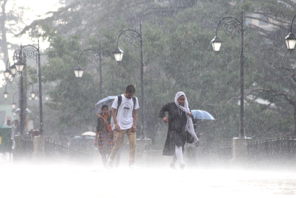 Shimla: Rains lash Shimla, on June 29, 2019. (Photo: IANS)