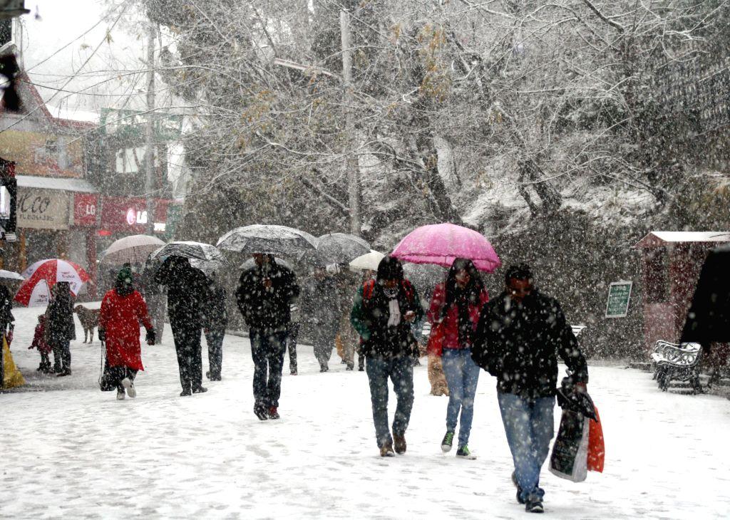 Shimla receives fresh snowfalls on Jan 14, 2015.