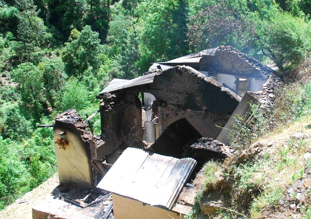 The house in which four people of the same family were charred to death in Manava village located on the outskirts of the Shimla on May 1, 2015.