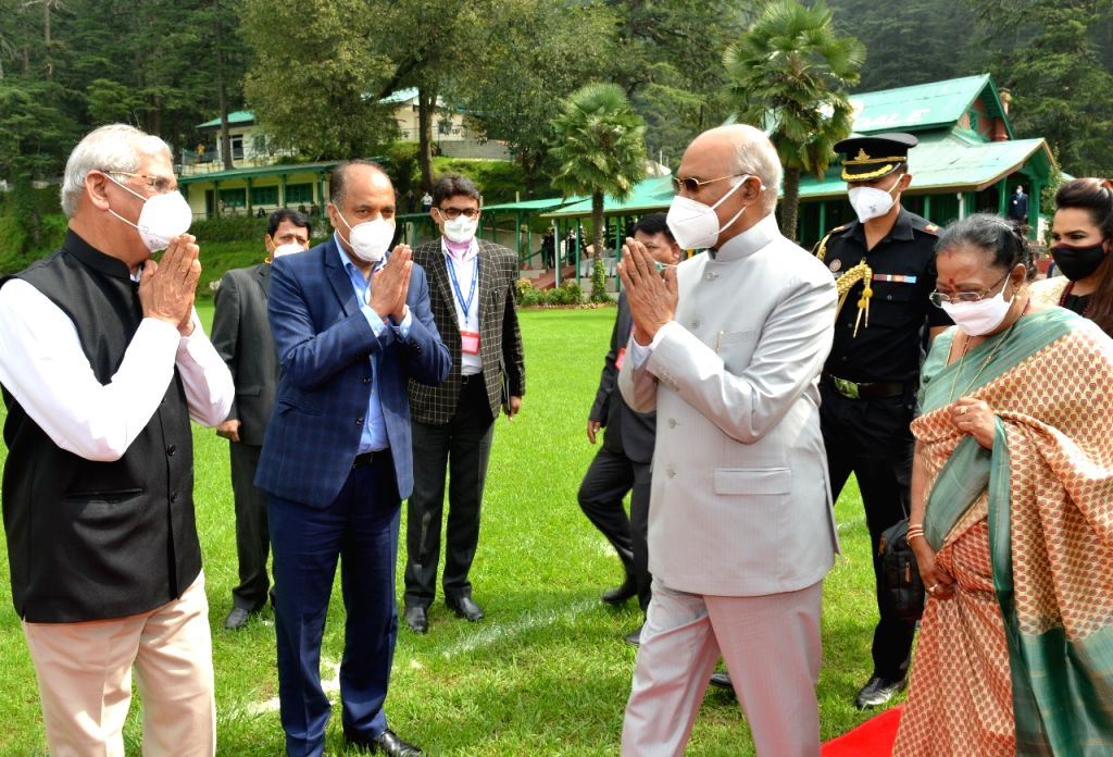 Shimla : The President of India Shri Ram Nath Kovind today accorded warm send off at Annadale helipad in Shimla after his four day sojourn to the State.  Governor Rajendra Vishwanath Arlekar, Chief Minister Jai Ram Thakur also present. - Jai Ram Thakur
