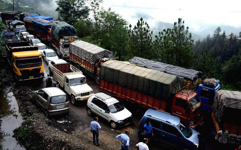 Shimla: Vehicles stuck in a traffic jam due to the heavy rainfall in Shimla on Aug 1, 2016. (Photo: IANS)