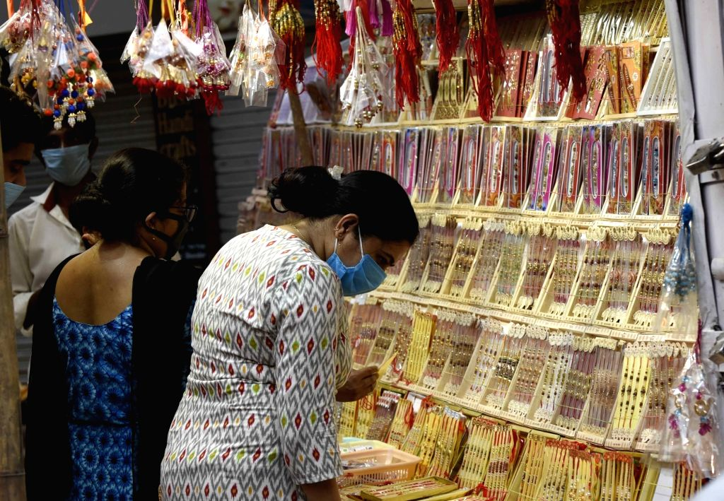 Shimla : Women busy shopping for Raksha Bandhan that shall be celebrated on 3rd August, at a market in Patna on July 31, 2020.