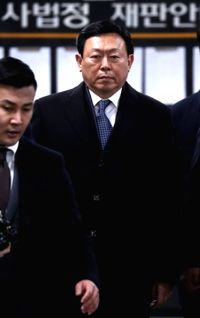 Shin Dong-bin, chairman of Lotte Group, arrives at a Seoul courthouse on Feb. 13, 2018, for sentencing in a corruption case linked to impeached former President Park Geun-hye. Shin was ...