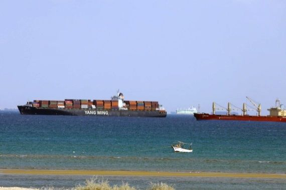 Ships wait to pass the Suez Canal in the Gulf of Suez, Egypt, on March 26, 2021.