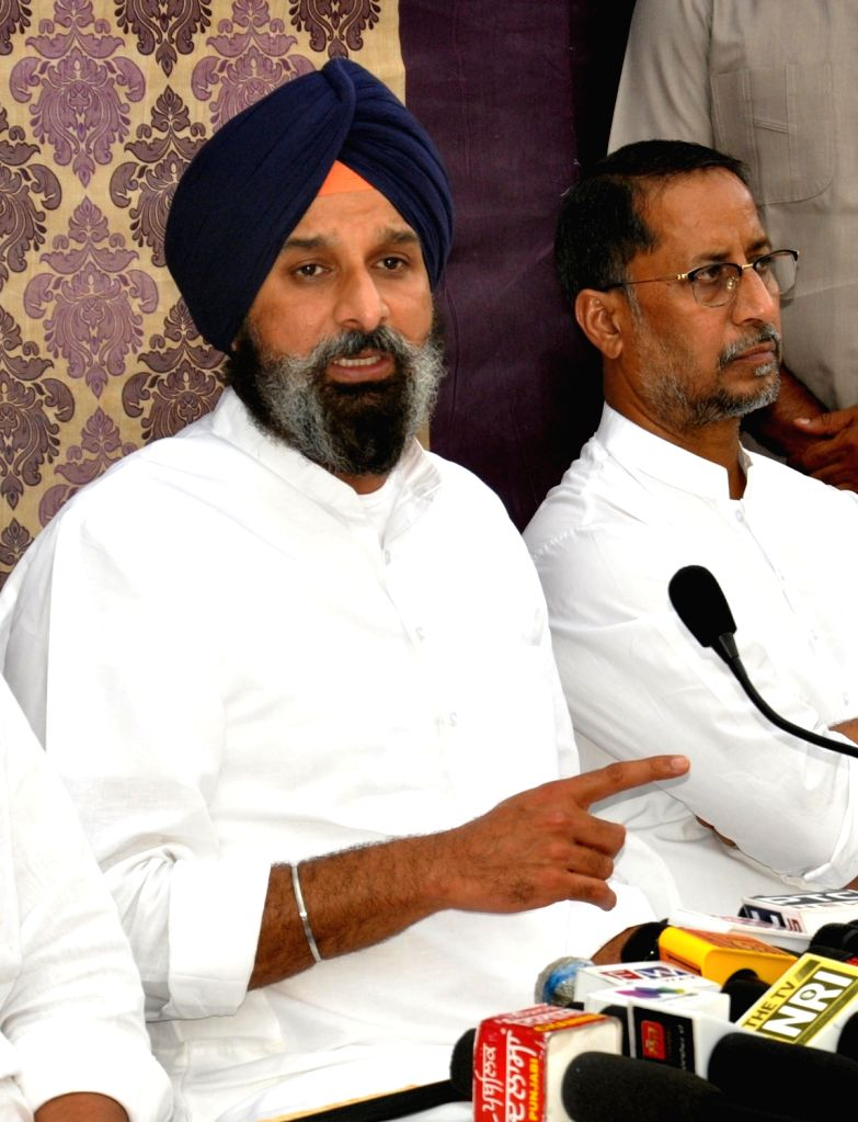 Shiromani Akali Dal General Secretary Bikram Singh Majithia addresses a press conference in Amritsar on Saturday October 02,2021.