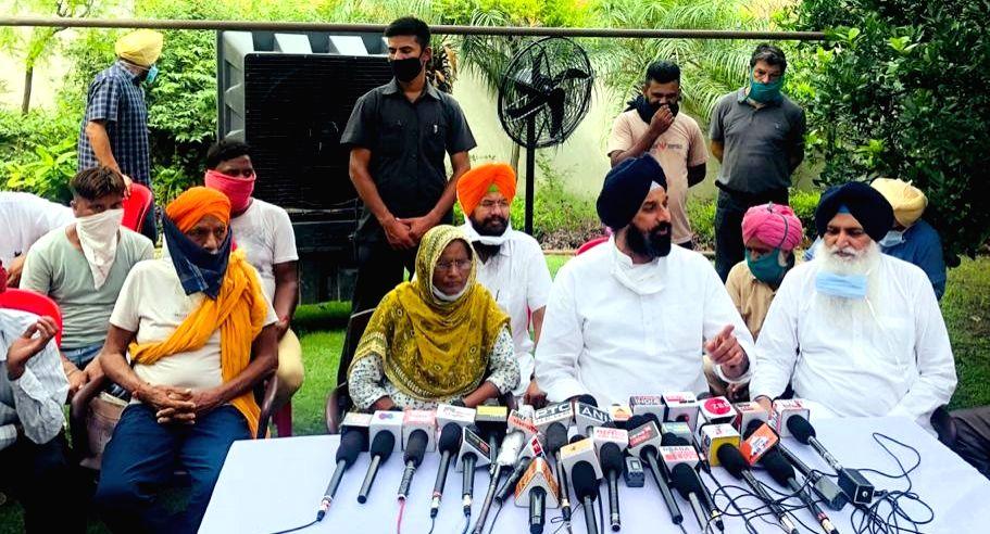 Shiromani Akali Dal (SAD) leader Bikram Singh Majithia addresses a press conference on Punjab Hooch tragedy, in Amritsar on Aug 13, 2020. - Bikram Singh Majithia