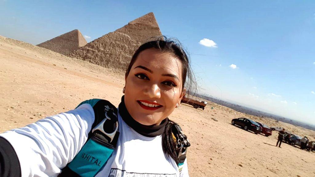 Shital Rane-Mahajan from Pune who performed a successful sky-diving over the Great Pyramids of Egypt near Giza on the occasion of 389th birth anniversary of Chhatrapati Shivaji Maharaj. - Shital Rane-Mahajan