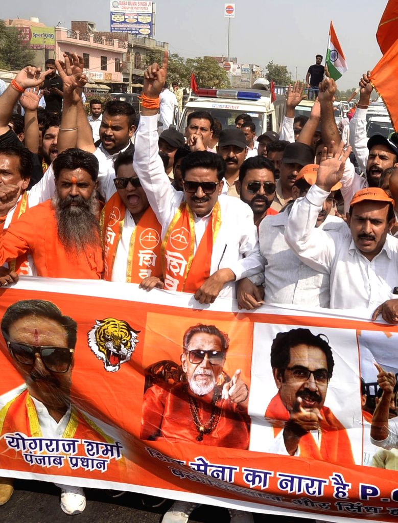 Shiv Sena activists stage a demonstration against killing of Indian soldiers on Line of Control in Amritsar, on Oct 13, 2017.