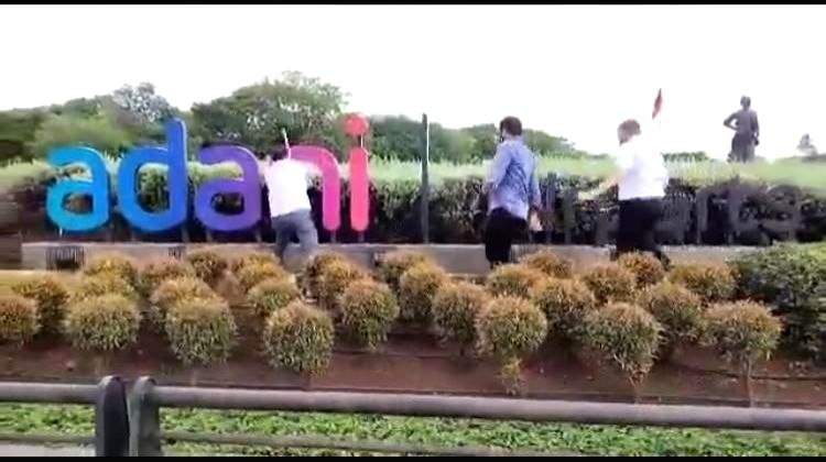 Shiv Sena activists vandalised a brand new hoarding of Adani Airport Holdings Ltd., outside the Chhatrapati Shivaji Maharaj International Airport, but the new owner company has denied it had effected a name-change