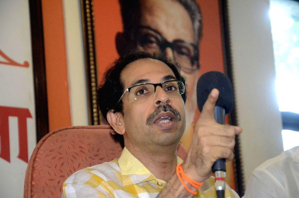 Shiv Sena chief Uddhav Thackeray addresses a press conference in Mumbai on July 14, 2014.