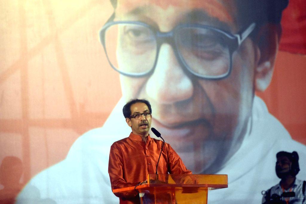Shiv Sena chief Uddhav Thackeray addresses a party rally in Mumbai on Oct 8, 2019.