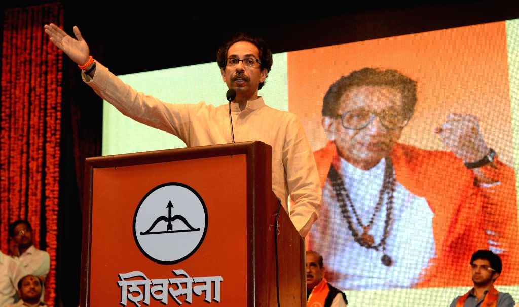 Shiv Sena chief Uddhav Thackeray addresses during a programme organised on the 48th anniversary of Shiv Sena in Mumbai on June 19, 2014.